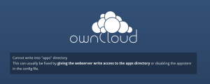 ownCloud error - cannot write into apps