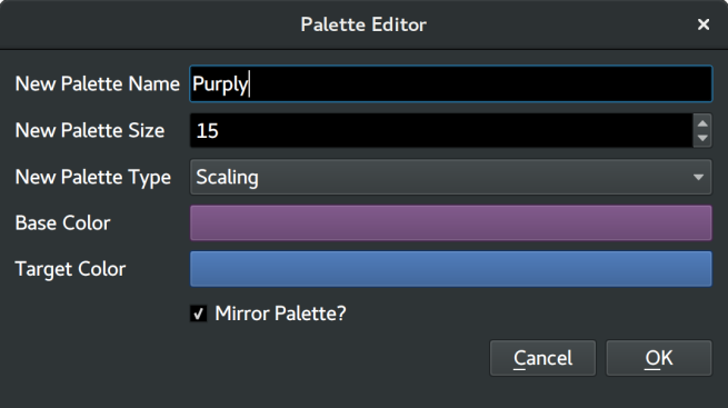 Dialog for creating a new Palette