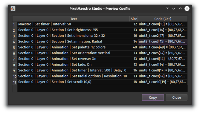 Commands in PixelMaestro Studio